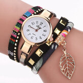 DUOYA DY066 Ladies Bracelet Watch Leaf Fabric Retro Style Quartz Watches