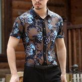 Mens Slim Openwork Broderade Plus Storlek Kortärmade T-shirts