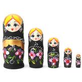 NEW 5pcs / set Matryoshka Russische het Nestelen Doll Babushka Houten BLACK Gift Bloemen