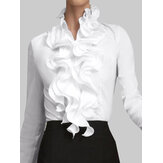 Camicia da donna a maniche lunghe in tinta unita con collo arricciato