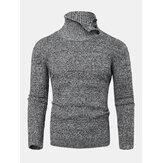 Suéteres de malha de malha masculina de textura sólida e cintura alta quente