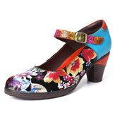 SOCOFY Painted Sunflowers Genuine Leather Elegant Ankle Buckle Strap Mary Jane Pumps