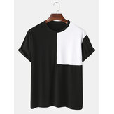 Mens Two Tone Patchwork Round Neck Short Sleeve Casual T-Shirts