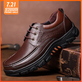 Men Genuine Leather Soft Insole Slip Resistant Casual Business Oxfords