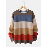 Mens Striped Knitting Round Neck Long Sleeve Warm Sweaters