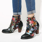 SOCOFY Women's Floral Causal Black Warm Lined Stacked Heel Ankle Boots
