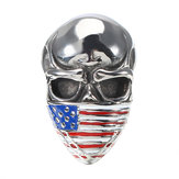 Fashion Titanium Steel Men's Ring Skull and Flag Personality Finger Ring