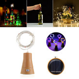 Solar Powered 8LEDs Cork Shaped Silver Alambre Botella de vino Fairy String Light para la fiesta de Navidad