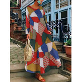 Женщины с принтом O-образным вырезом Baggy Loose с длинным рукавом Макси Платье