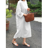 Women Cotton O-neck Solid Color 3/4 Sleeves Daily Casual Simple Maxi Dress