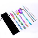 Conjunto de talheres 7 unidades de aço inoxidável garfo colher faca pauzinhos de palha Escova talheres portáteis ao ar livre camping piquenique