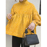 Women Plus Size Floral Printing Pleated Irregular Long Sleeve Casual Blouse