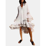 Women Solid Color Patchwork Irregular Hem Flare Sleeve Casual Loose Shirt Dress