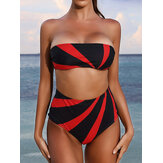 Women Color Block High Waist Bikini Bandeau Strapless Swimwear