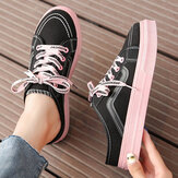 Women Casual Solid Lace-up Round Toe Court Sneakers Shoes