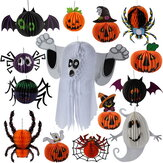 Halloween 3D Ghost Bat Spider Pumpkin Witch Pendant Haunted House Drop Bar KTV Room Ornamento da appendere in carta decorativa