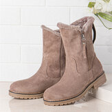 Women Casual Suede Round Toe Side Zipper Flat Snow Boots