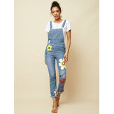 Frauen Casual Big Flower Print Taschen Denim Jumpsuit