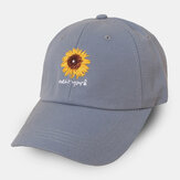 Unisex Cotton Solid Color Letter Daisy Pattern Embroidery Wide Brim Sunshade Baseball Cap