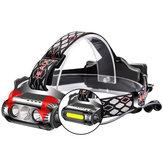 XANESX-963850LM3*T6 + COB 8 Modi Wasserdichter Scheinwerfer Weiß Grün Rot LED Licht Flutlicht Batterie 2 * 18650 Batterie USB-Schnittstelle