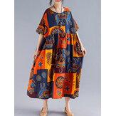 महिला रेट्रो लोक शैली प्रिंट ढीला ओ-गर्दन लघु आस्तीन पोशाक