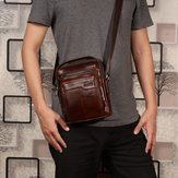 Men Genuine Leather Business Multi-pocket Shoulder Bag