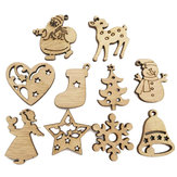 100PCS Wooden Piece Cartoon Cute Creative DIY Cutouts Craft Embellishments Wood Ornament Decorations