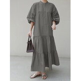 Plus Size Cor Sólida Camada Ruffle Manga Longa Camisa Vestidos Maxi Casual Para Mulheres