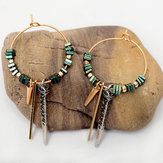 African Green Ore Texture Earrings
