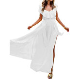 Women Solid Color Ruffle High Split Maxi Dress with Pocket