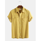 Mens Casual 100% Cotton Solid Color Breathable Short Sleeve Shirts