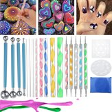 20Pcs Mandala Dotting Tools Set Kit de peinture de roche Nail Art Pen Paint Stencil