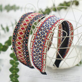 Bohemian Cotton Linen Anti-skid Wide Hairband Ethnic Hand-woven Embroidery Headband
