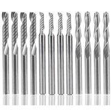 Drillpro 12-delige hardmetalen frees CNC-frees Enkele / dubbele fluitgereedschap voor Nylon Hars ABS Acryl PVC MDF hardhout