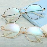 Unisex Ultralight Radyasyondan Korunma Gözlüksüz Yuvarlak Oval Metal Jant Vintage Lens Gözlükleri