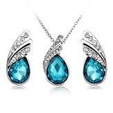 Conjunto de Jóias Brincos Colar de Gota de Água de Cristal Presente de Joias de Prata para Mulheres