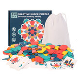 180 Pcs Colorful Creative Multi-Shape Puzzle Develop Thinking Ability Educational Toy with Bag for Kids Gift
