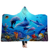 150x200cm Kid volwassen dekens met capuchon Soft Ocean World Wearable Throw Blankets Cloak