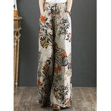 Algodão feminino Palnt com estampa floral de bolso com cordão elástico na cintura retro perna larga Calças