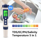 EZ-9909A 5 in 1 TDS/EC/PH/Salinity/Temperature Meter Digital Water Quality Monitor Tester for Pools, Drinking Water, Aquariums