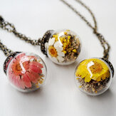 Vintage Daisy Transparent Glass Ball Necklace Handmade Dried Flower Pendant Long Necklace