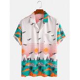 Banggood Design Seaside Landscape Print Hawaii Holiday Shirts met korte mouwen
