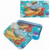 60 sztuk puzzle diy słoń pilot samolotu kreskówka układanki z pudełko cyny dzieci dzieci edukacyjne zabawki