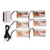 6PCS ZOP POWER 3.7V 1200mAh 30C 1S Lipo Battery White Plug With 6 in 1 Battery Charger