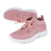 NIS Damen Atmungsaktive Air Mesh Sneakers Schnürsockenschuhe Sporttennistrainer