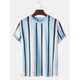 Herren Colorful Vertical Stripes Holiday Casual Kurzarm-T-Shirts