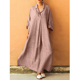 Plus Size Casual V-neck Long Sleeve Solid Color Loose Maxi Dress For Women