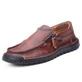 Homens Costura à mão de couro Soft Deslizamento casual de negócios com zíper lateral em sapatos baixos