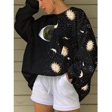 Women Starry Sky&Eye Graphics Patchwork Black Pullover Loose Sweatshirts