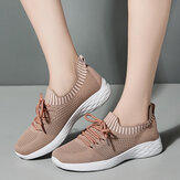 Women Casual Mesh Knitted  Decoration Running Lace Up Sneakers